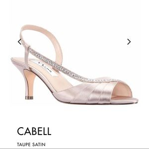 New Nina Cabell Shoes- Taupe Satin size 6.5